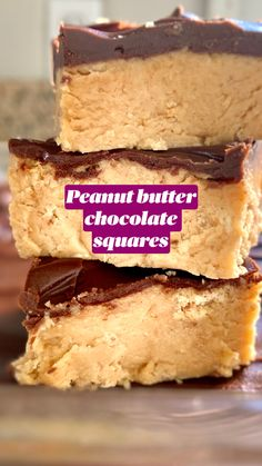 These no-bake chocolate peanut butter squares are easy to make and addictively delicious! Peanut Butter Dessert Recipes, Peanut Butter Chocolate Bars, Fudge Recipes, Candy Recipes, Baking Recipes, Easy No Bake Recipes, Peanut Butter Oatmeal Bars, Peanut Butter No Bake, Bar Recipes