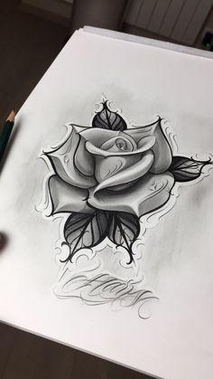 Rose Drawing Tattoo, Tattoo Design Drawings, Skull Tattoo Design, Flower Tattoo Designs, Tattoo Sketches, Rose Tattoos For Men, Black Rose Tattoos, Grey Tattoo, Tattoo Ink
