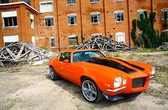 1970 Chevrolet Camaro Z/28 painted in Hugger Orange. http://www.carid.com/billet-grilles.html