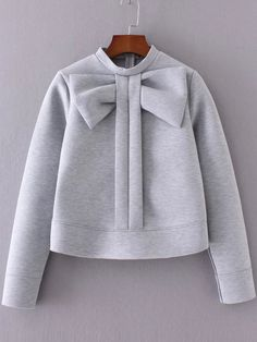 Cheap cute pullover, Buy Quality crew neck sweatshirts directly from China pullover cute Suppliers: SweatyRocks Grey Bow Embellished Crew Neck Sweatshirt Autumn Winter Cute Pullovers For Women Long Sleeve Zipper Back Sweatshirt Fashion Kids, Look Fashion, Girl Fashion, Winter Fashion, Womens Fashion, Fashion Black, Sweatshirt Outfit, Crew Neck Sweatshirt, Grey Sweatshirt