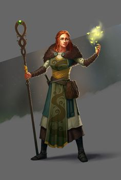Character inspiration female light mage staff