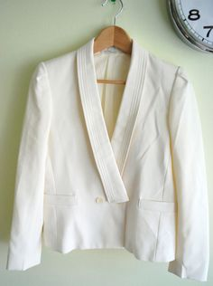 Vintage Nautical Sailor White Preppy Blazer M L. via Etsy.