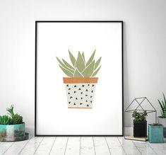 Aloe Vera Art Print, Botanical Illustration, Plant Printable, Succulent, Hipster, Scandinavian Art, Graphic Illustration, Digital Download by HeyPrestoPrints