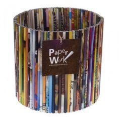 basket made from recycled rolls of magazines