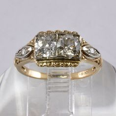 1940s Ring With Two Old European Cut Diamonds, $995   25 Vintage Engagement Rings You Can Actually Afford