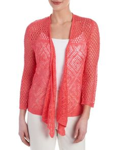 Mixed Knit Tie Front Cardigan - 1