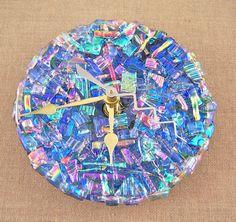 Mosaic Clock  Dichroic Glass Medallion  Diamonds & by HaydenBrook, $65.99