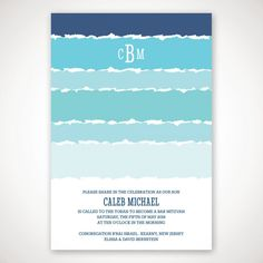 Tekhelet Waves Bar Mitzvah Invitation - Bar & Bat Mitzvah Invitations - Bar…                                                                                                                                                                                 More