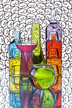 #Bouteilles et #flacons en #verre colorés | #Bottles and #flasks colored #glass