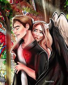Digital Portrait, Portrait Art, Fantasy Love, Fantasy Art, Romance Art, Angel And Devil, Club, Fantasy Creatures, Anime Love
