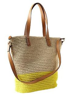 Gap Colorblock straw tote - I love the yellow! But it might be a tad too large for me.