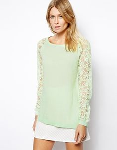 {ASOS Sweater with lace raglan sleeves in mint - under $100}