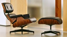 The Eames Armchair and Ottoman.