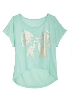 Mint Shine Bow Tee - View All Tops - Tops - dELiA*s