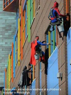 "Not actually a cleaning ""tip"" per se... just kind of cool: Super heroes cleaning #windows at a children's hospital."