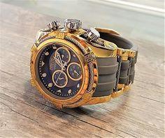 Mens Invicta Reserve 52mm Gold   Grey Bolt Zeus Swiss Chronograph Watch  16241 01d42037913