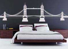 If you want a big impact from a single design, or need a touch of London in your home, get this great bridge decal for only $69.99 from www.beautifulwalldecals.com today!