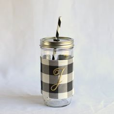 Black Buffalo Plaid Monogrammed Mason Jar Tumbler Check out this item in my Etsy shop https://www.etsy.com/listing/269963260/personalized-tumbler-monogrammed-tumbler