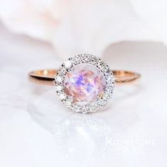 Solid 14kt Rosé Gold Moonstone Ring with Diamonds - Halo – Moonstone Magic