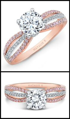 Natalie K rose gold engagement ring with rows of round white and pink diamonds surrounding a center round mounting made for a 1.50ct center stone.