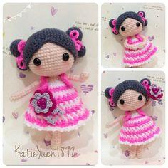 """""""Sweet little girl ~ Keke  团钩 ~ 俏可可 身高 : 15cm, 钩针 : 2/0 #adorable #addicted…"""