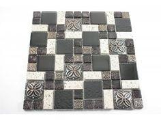 mosaikfliesen misrata glas stein keramik schwarz weiss grau mix16 - Schwarzweimosaikfliese Backsplash