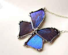 Real Butterfly Jewelry, Blue Morpho Butterfly Necklace on Sterling Silver via Etsy