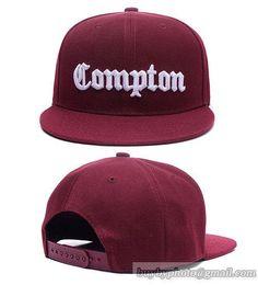 Black Compton Vintage Cube Flat Bill Snapback Snap Back Cap Hat
