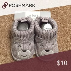 NEW  Carter's Knotted Booties Grey knitted bear booties. Brand new Carter's Shoes Slippers