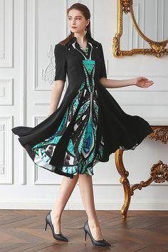 2c55f36db6b VOA Women's Black Bottom Turquoise Mock Neck Pearl Clasp Dress AJX02701 at Amazon  Women's Clothing store