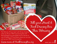 Fill your Heart and Food Driving Box Campaign | Seattle's Child - give back with the kids and raise a more grateful family! Help local families stay fed.
