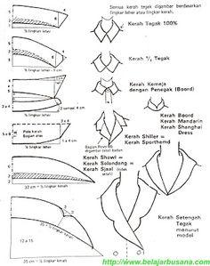 Belajar Busana Online: Membuat pola kerah tegak dan setengah tegak