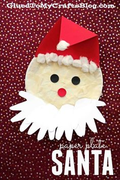 Paper Plate Santa w/Handprint Beard - Christmas Kid Craft Idea