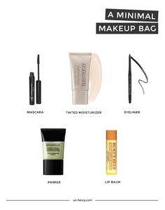 a minimal makeup bag: needs a lipstick but otherwise great idea