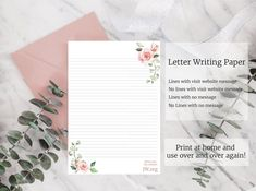 JW letter writing paper digital download lined website flower | Etsy Free Printable Stationery, Floral Printables, Printable Letters, Psalm 37, Stationery Paper, Stationery Design, Writing Paper, Letter Writing, Writing Lines