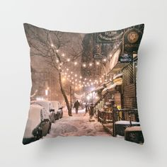 Snow+-+New+York+City+-+East+Village+Throw+Pillow+by+Vivienne+Gucwa+-+$20.00