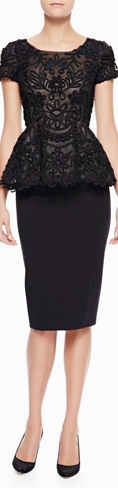 Oscar de la Renta ● Pleated Blouse & High-Waist Pencil Skirt
