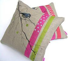Mogwaii Design, Cushions, Hand-stitchen on Linen, hand crafted in Scotland