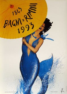 Bagni di Rimini Authentic Vintage Poster by Rene Gruau Qualifies for free shipping! The Bagni di Rimini Poster is a fun, playful piece by the famous fashion illustrator, Rene Gruau. This particular pi