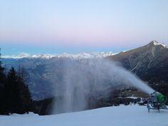 Making snow at dawn