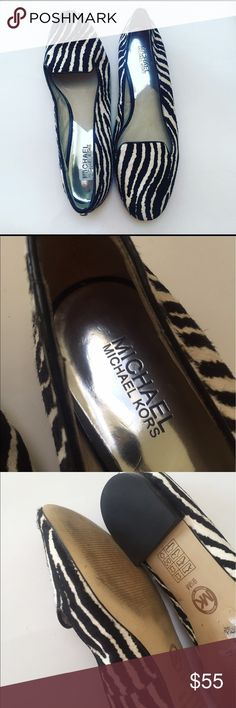 "MK Michael KORS Zebra print Shoe size 9.5 M MK Michael KORS • Zebra print Shoe • size 9.5 M • Calf hair • Slipper shoe • 1/4 "" heel • #KA-1 Michael Kors Shoes Flats & Loafers"