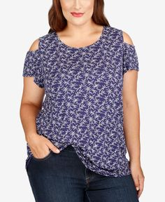 cf5f80606697a7 Lucky Brand Trendy Plus Size Cold-Shoulder Top   Reviews - Tops - Plus Sizes  - Macy s