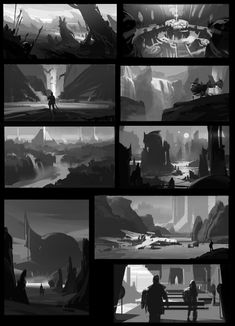 ArtStation - daily Dawnpu at Art vision studio Landscape Sketch, Landscape Concept, Landscape Art, Environment Sketch, Environment Painting, Digital Painting Tutorials, Art Tutorials, Illustrations, Illustration Art
