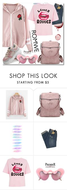 """""""Varsity-Striped Zip Up Hooded Jacket"""" by ilona-828 ❤ liked on Polyvore featuring Brush Strokes, River Island, StreetStyle, romwe and polyvoreeditorial"""