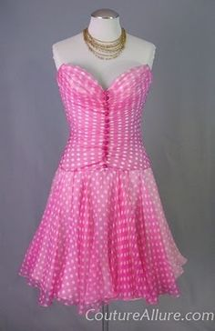 1980s Bob Mackie Pink Polka Dot Silk Dress