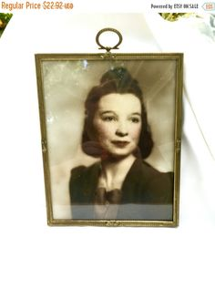 AUTUMN SALE Vintage Gold photo frame mid century  Glamourous tinted photograph in frame womans photo 1950s