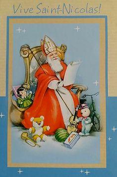 Carte illustrée, Vive Saint Nicolas Vintage Ephemera, Vintage Postcards, Father Christmas, Christmas Things, St Nicholas Day, Holiday Cards, Saints, December, Knitting