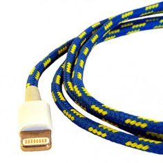 Apple Lightning to USB cable  blue with yellow for iPhone 5 and iPad mini. http://computer-s.com/apple-accessories/apple-lightning-to-usb-cable-review/