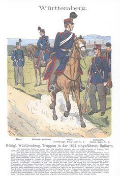 Band III #15.- Württemberg. Königl. Württembergische truppen in der 1864 eingeführten Uniform.