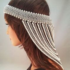 My newest head dress! Side view. #chainmaille #artisanmade #head dress